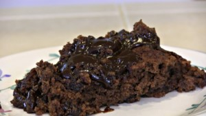 "SmokingPit.com - Dutch oven Chocolate Pudding Cake cooked in a Lodge 10"" dutch oven in my Scottsdale Santa Maria style cooker. Mixing the cake mix. The money shot!"