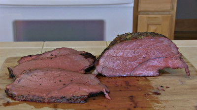 SmokingPit.com - Savory Beef Chuck Cross Rib Roast slow cooker on a Yoder YS640 Pellet cooker - The Money Shot!