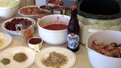 SmokingPit.com BBQ - My signature bowl of beans. Trippel Beer Infused Pulled Pork Chili smoked on a Yoder YS640 pellet smokerTop round beef steak smoked low and slow. Ingredients